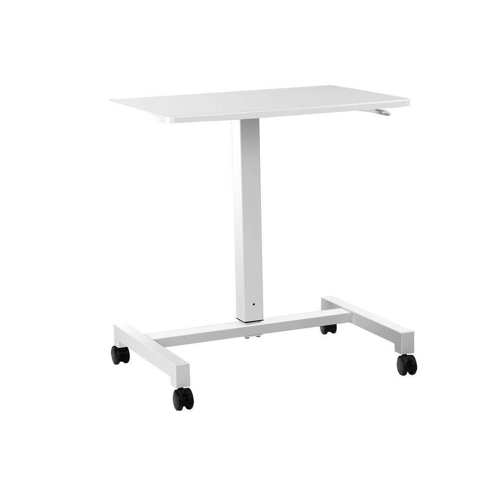 Artiss Mobile Height Adjustable Standing Desk Sit Stand Portable Computer Laptop Bar Table Gas Lift White
