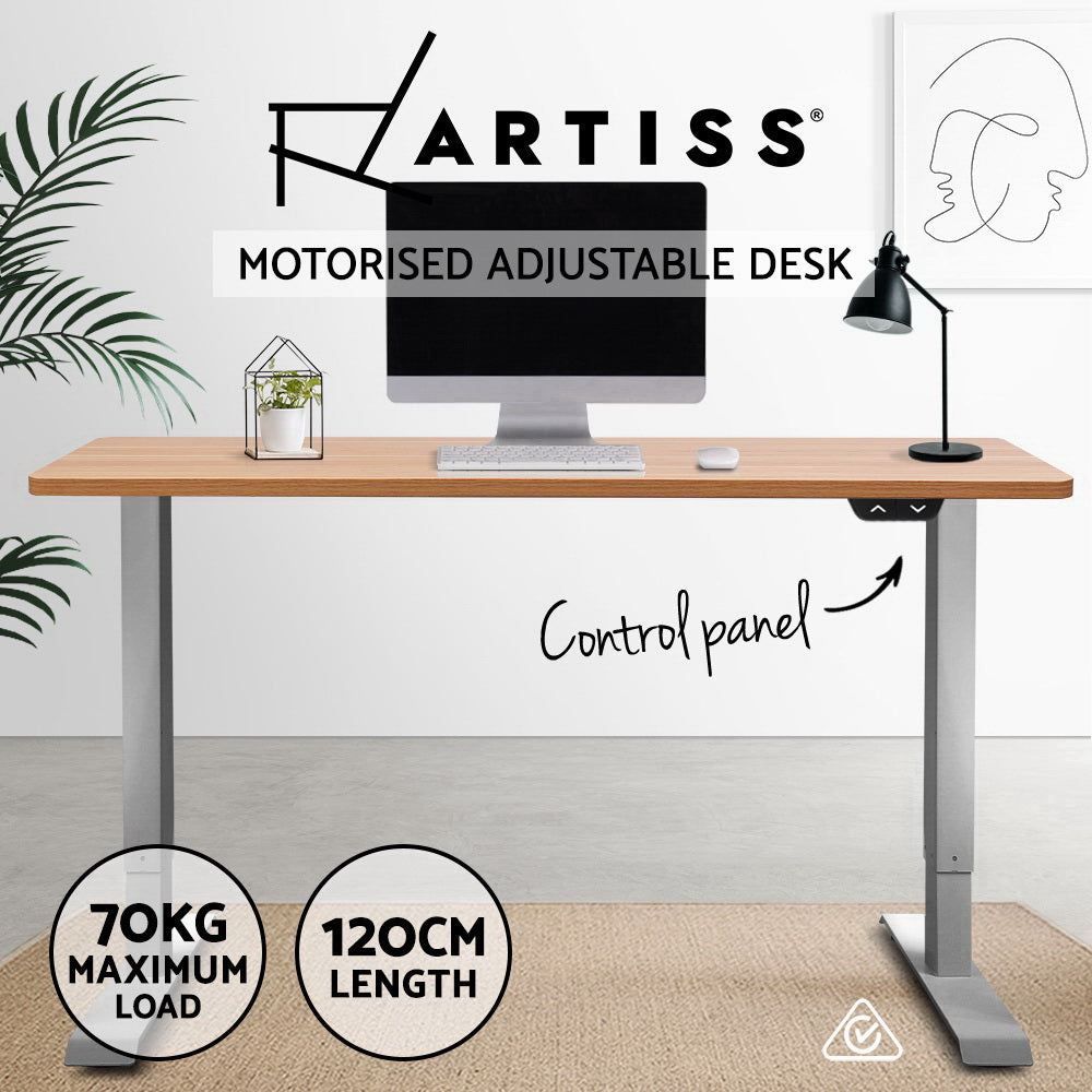 Artiss Standing Desk Sit Stand Table Height Adjustable Motorised Electric Frame Riser 120cm Desktop