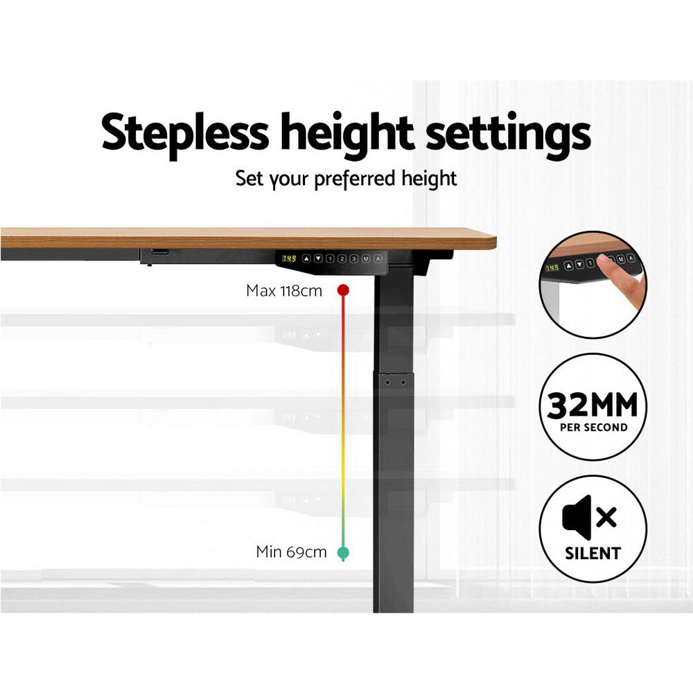 Artiss Standing Desk Motorised Sit Stand Table Height Adjustable Laptop Computer Desks Dual Motors 140cm