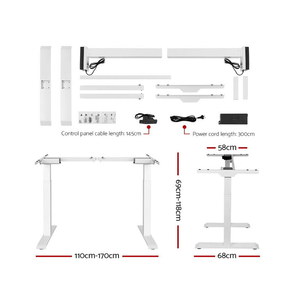 Artiss Standing Desk Sit Stand Table Riser Motorised Electric Laptop Computer Desks Dual Motor 120cm