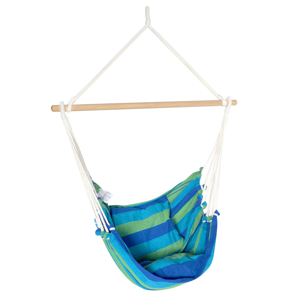 Gardeon Hanging Hammock Chair Swing Indoor Outdoor Portable Camping Blue