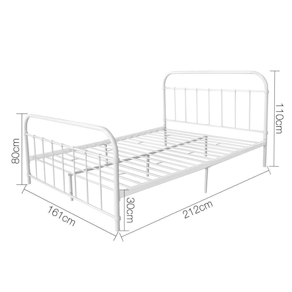 Artiss Queen Size Metal Bed Frame - White