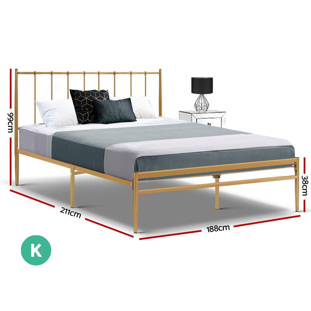 Metal Bed Frame King Size Mattress Base Platform Foundation Gold Amor