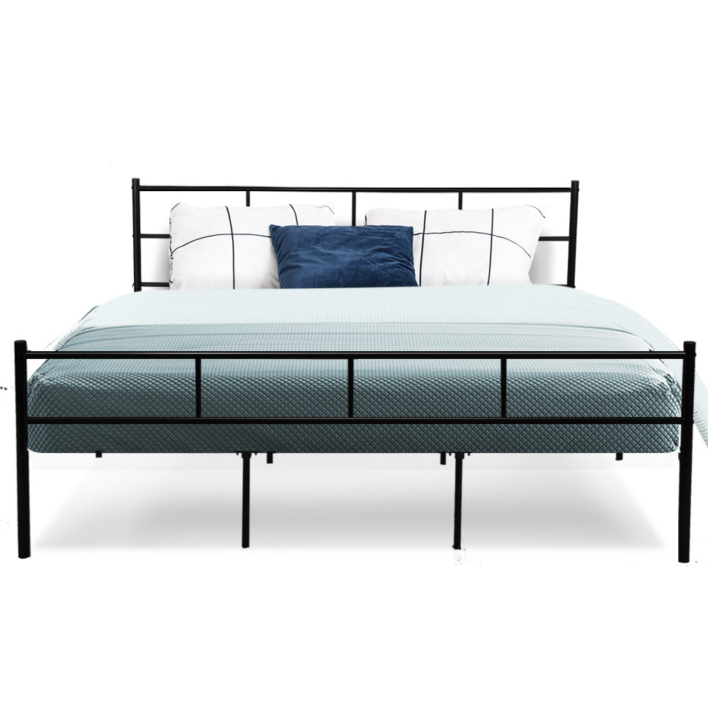 Metal Bed Frame King Size Platform Foundation Mattress Base SOL Black