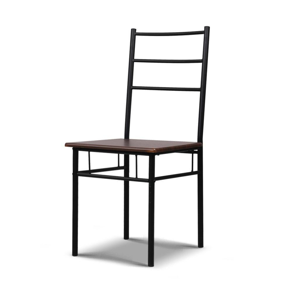 Artiss Metal Table and Chairs - Walnut & Black