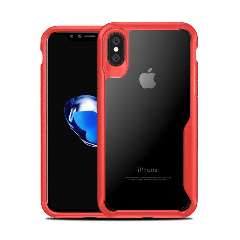 Best iPhone X Protection Case TPU+PC - Front & Back [Snap-Fit] Shockproof Cover(Red)