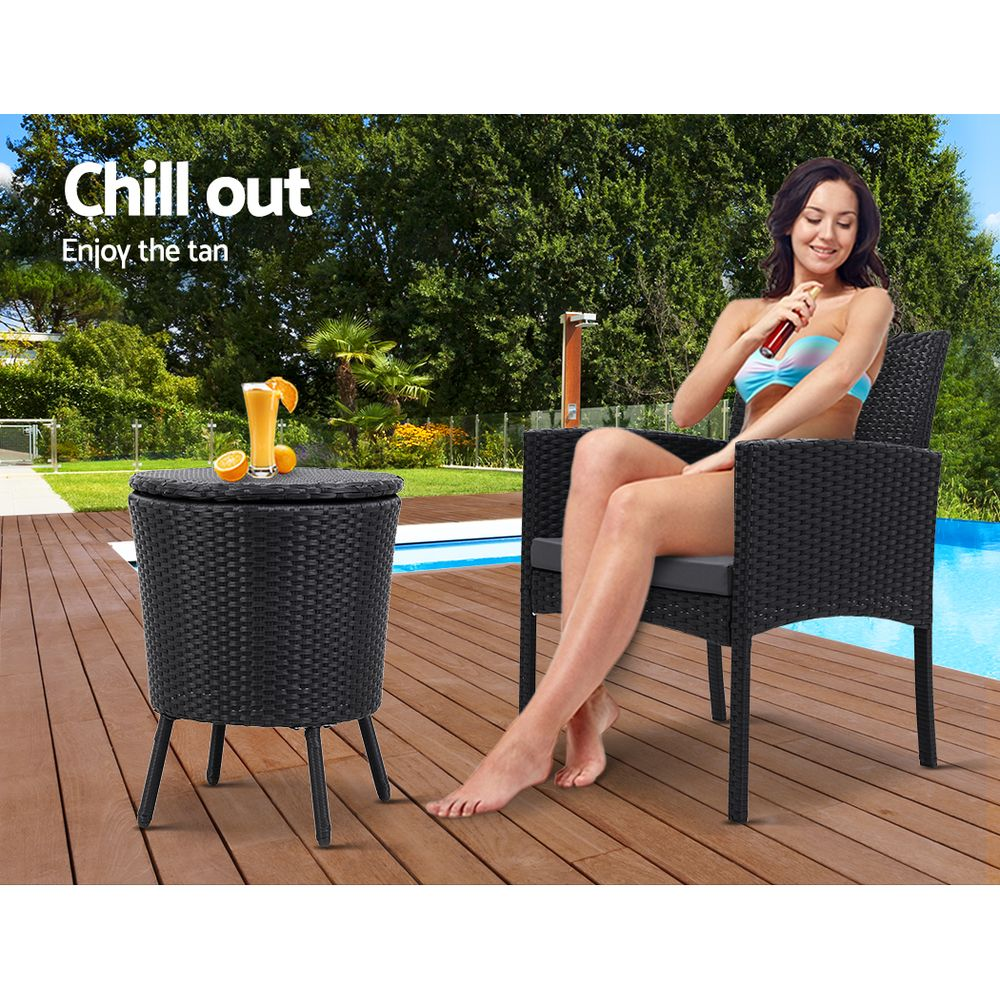 Gardeon Outdoor Furniture Wicker Chairs Bar Table Cooler Ice Bucket Patio Bistro Set Coffee