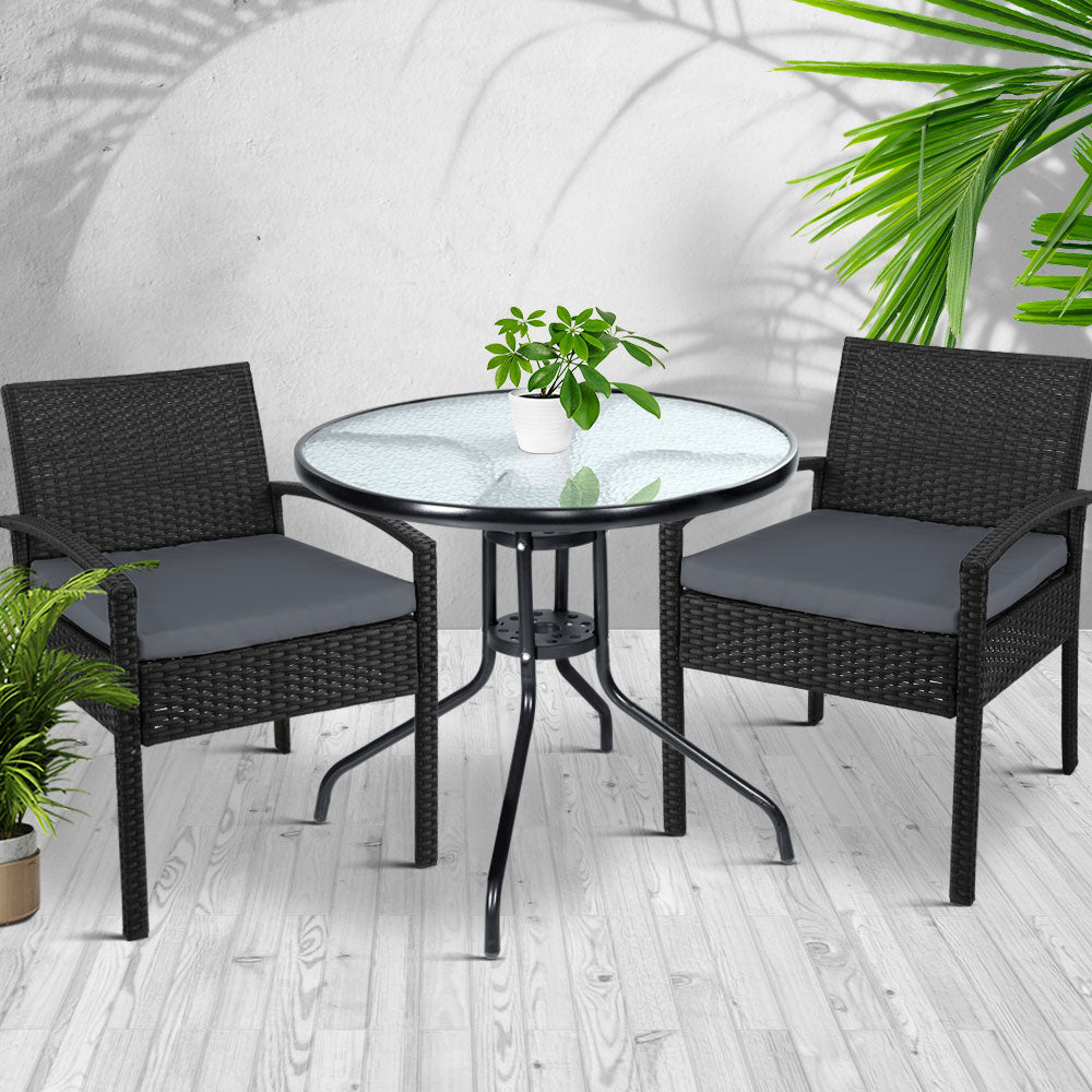 Gardeon Outdoor Furniture Dining Chairs Wicker Garden Patio Cushion Black 3PCS Sofa Set Tea Coffee Cafe Bar Set