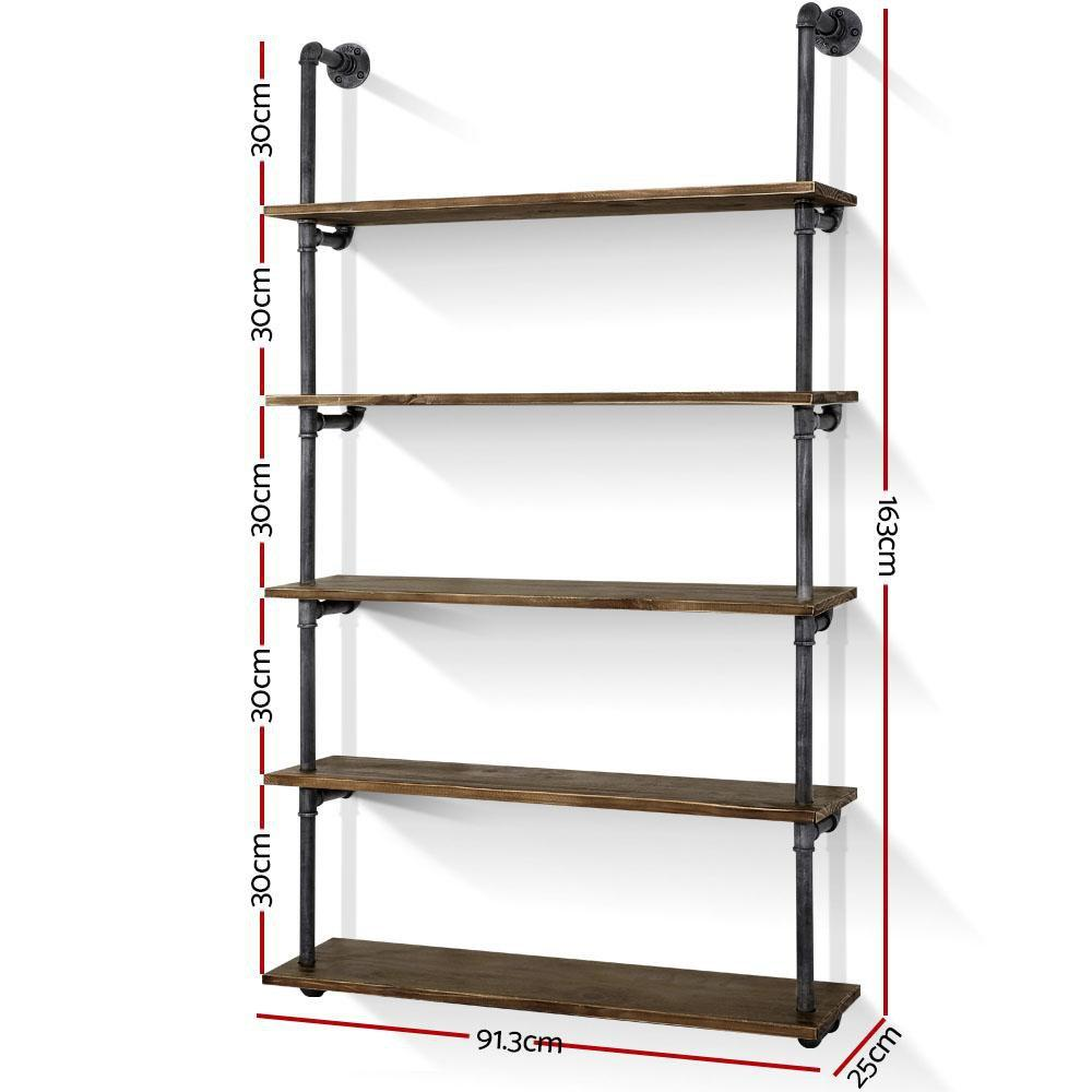Artiss Wall Display Shelves Industrial DIY Pipe Shelf Rustic Floating Brackets