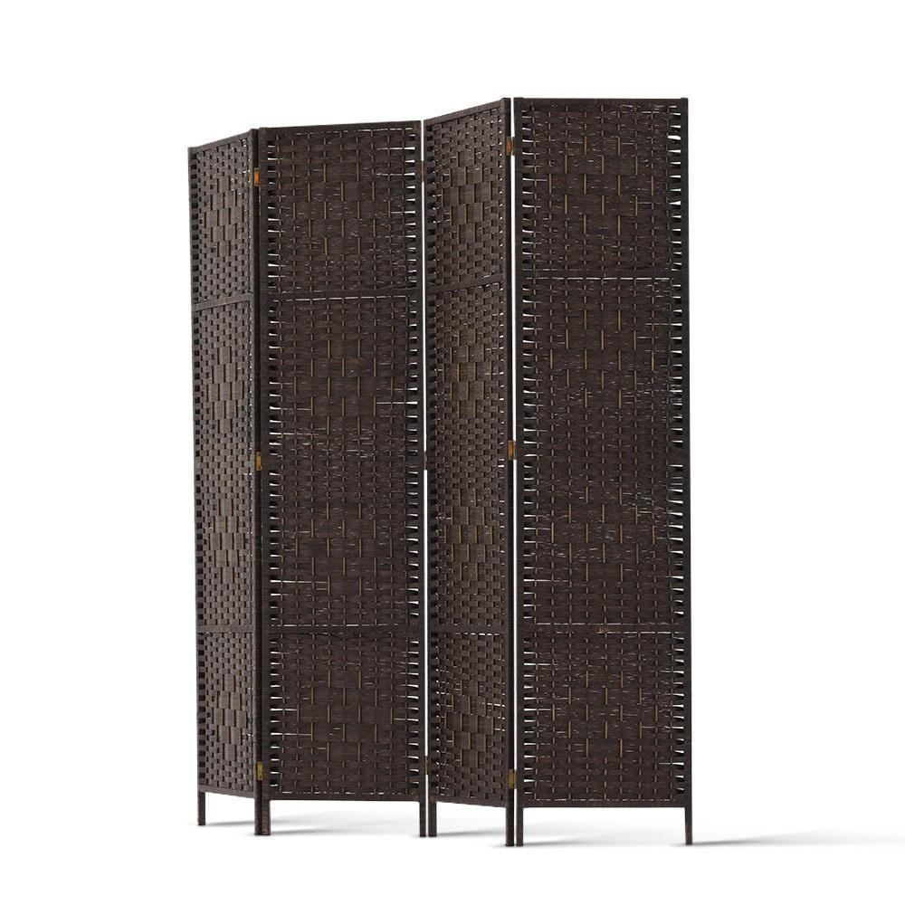 Artiss 4 Panel Room Divider Privacy Screen Rattan Woven Wood Stand Brown