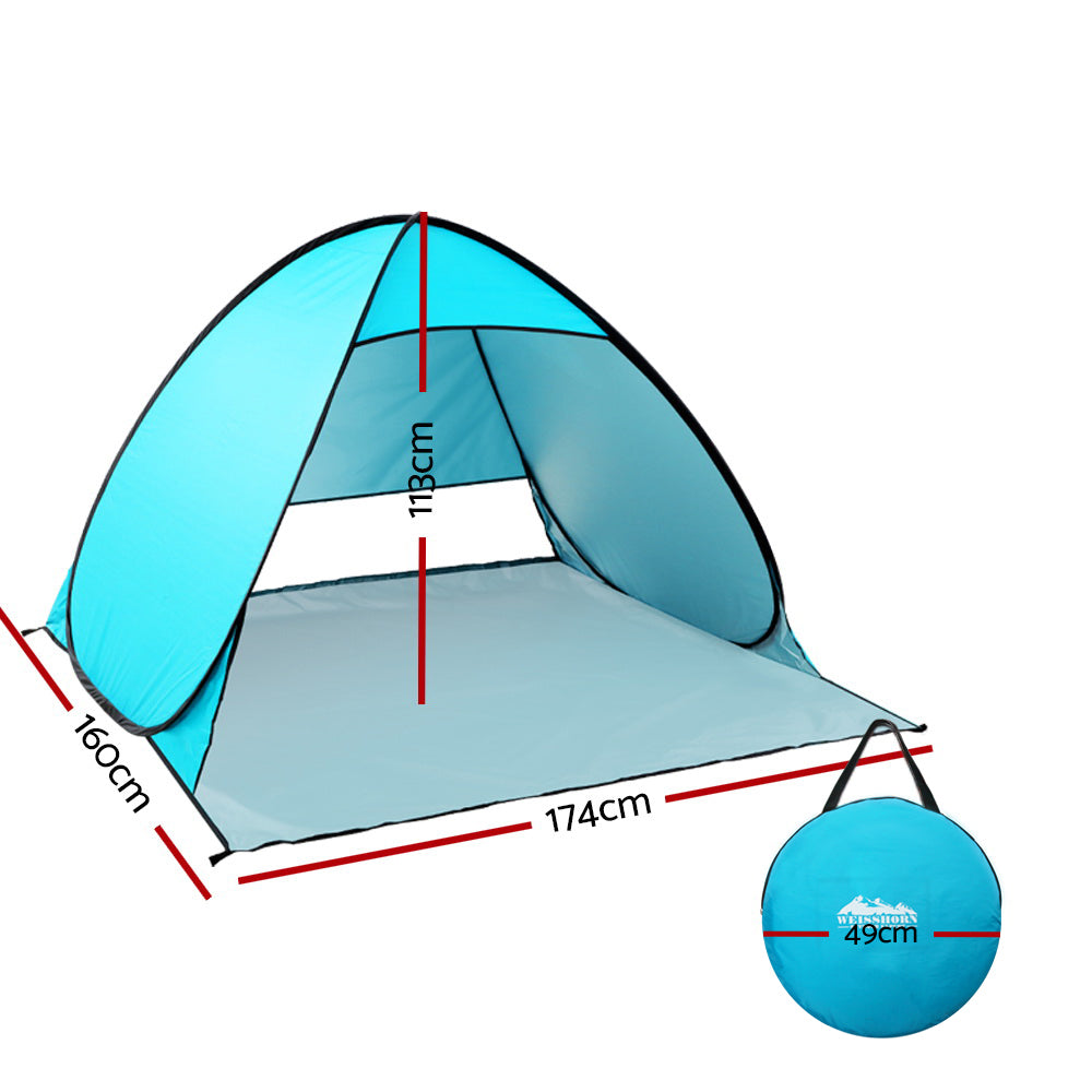 Weisshorn Pop Up Beach Tent Camping Hiking 3 Person Sun Shade Fishing Shelter