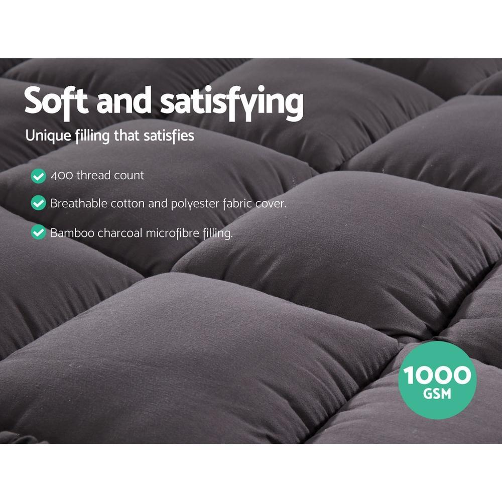 Giselle King Single Mattress Topper Pillowtop 1000GSM Charcoal Microfibre Bamboo Fibre Filling Protector