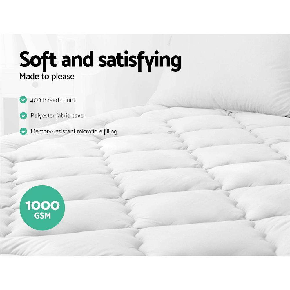 Giselle Bedding Pillowtop Mattress Topper Protector 1000GSM King