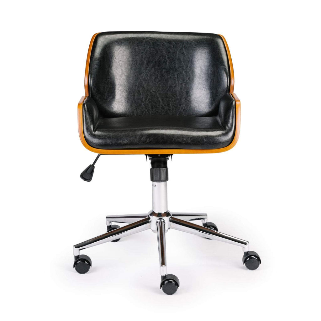 Wooden & PU Leather Office Chair Plaza Task Chair