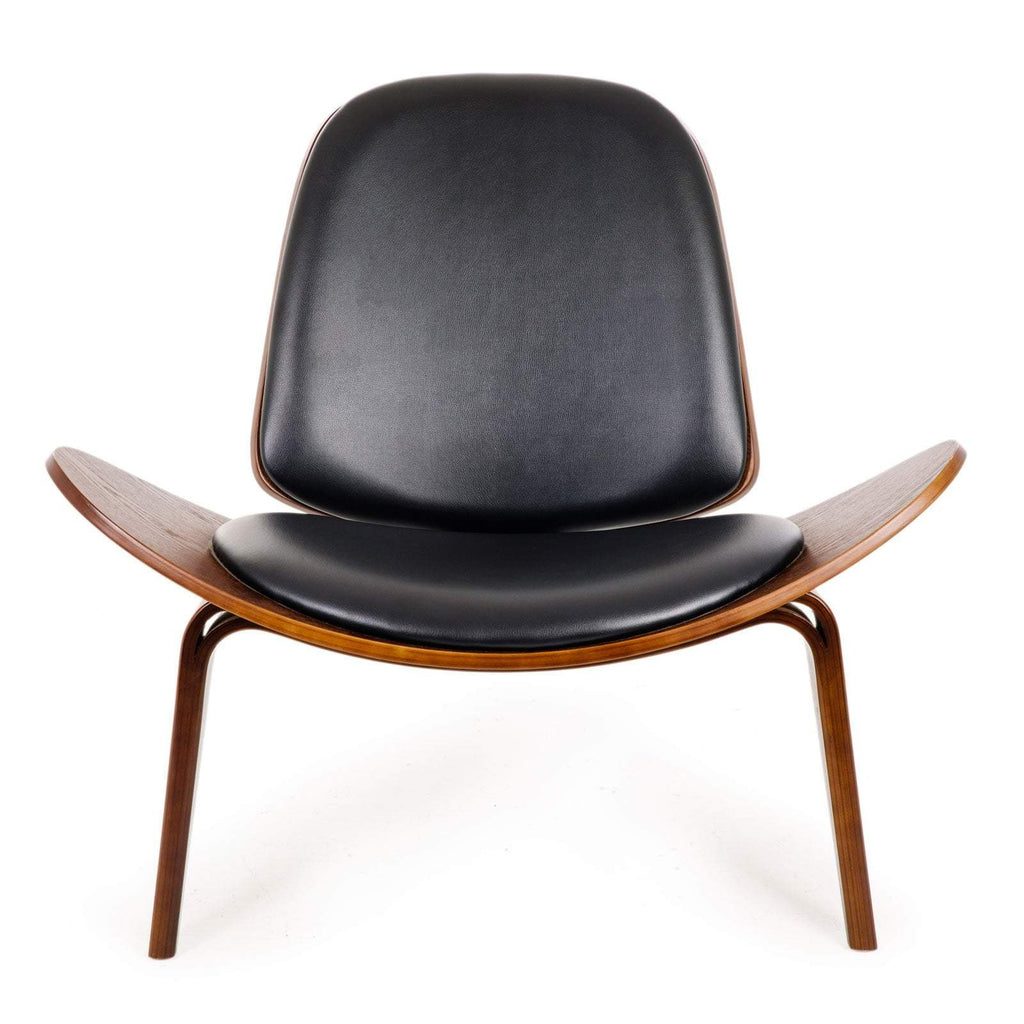 Replica Hans Wegner Shell Chair - Black Top Layer Genuine Leather / Walnut Wood
