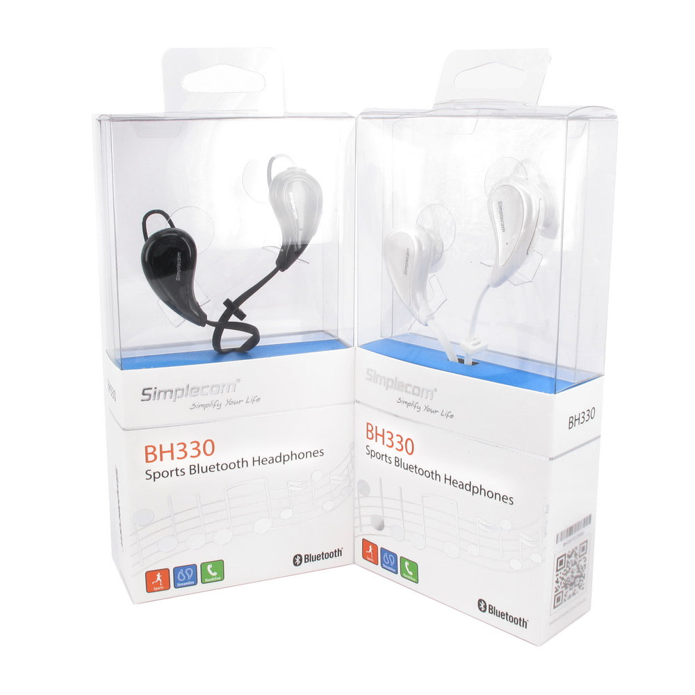 Simplecom BH330 Sports In-Ear Bluetooth Stereo Headphones White
