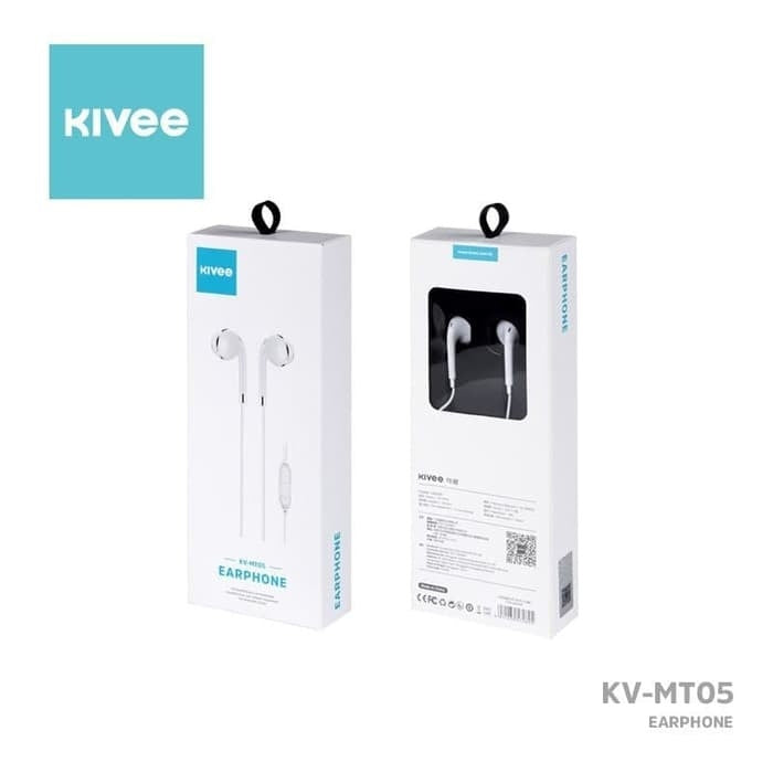 KIVEE MT05W earphone 3.5mm 1.2M White