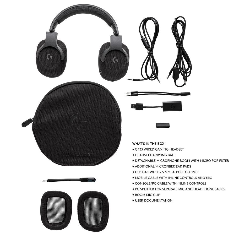 981-000670: Logitech G433 7.1 Surround Sound Wired Gaming Headset