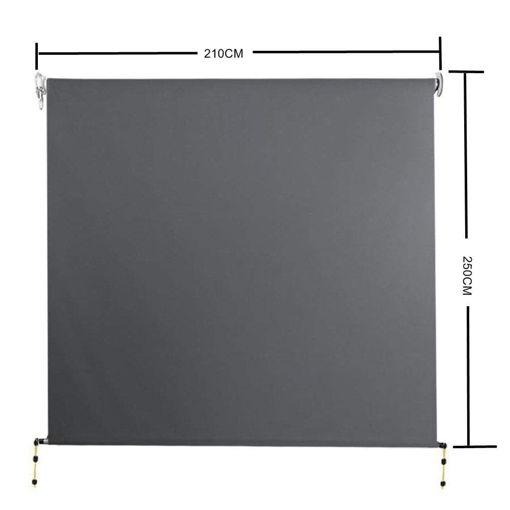 Retractable Straight Drop Roll Down Awning Garden Patio Screen 2.1X2.5M