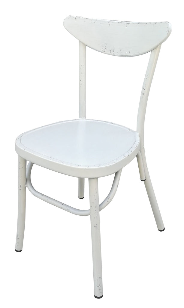 Aluminium Moon Back Chair Retro White Set of 2