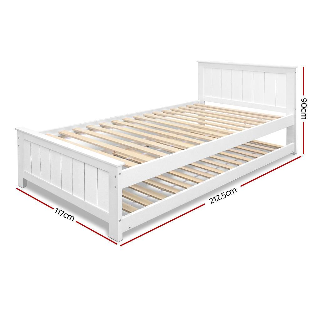 Artiss Wooden Trundle Bed Frame Timber Slat King Single Size White