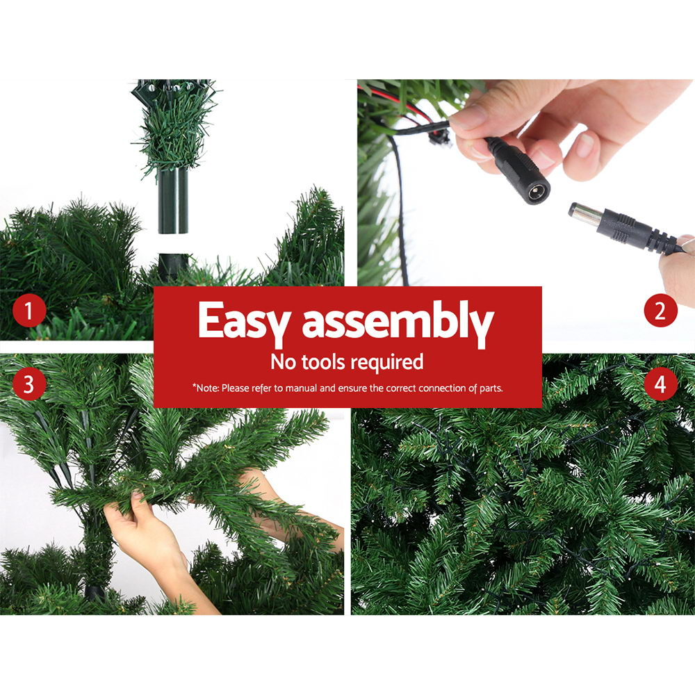 Jingle Jollys 2.1M 7FT Christmas Tree 1134 LED Bulbs Lights Warm White Bonus Bags