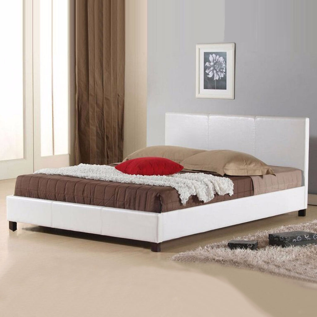 Mondeo PU Leather Queen White Bed
