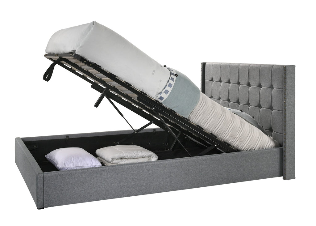 Double Sized Winged Fabric Bed Frame with Gas Lift Storage in Light Grey