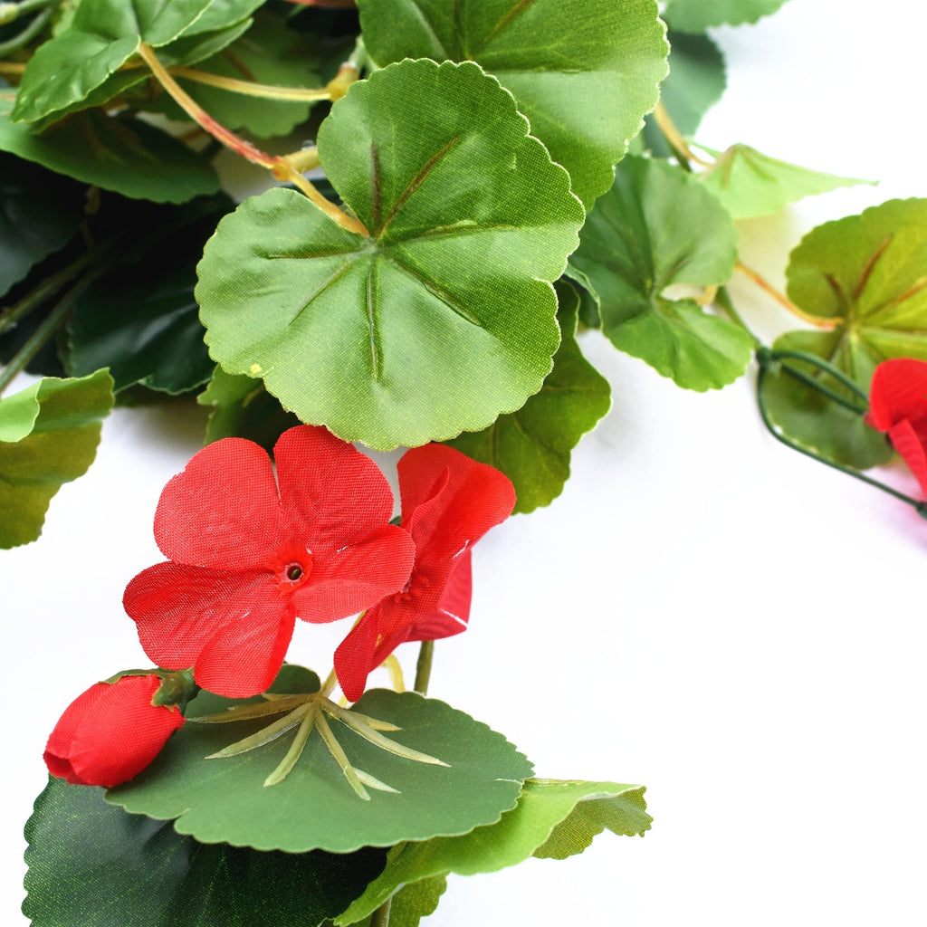 Artificial Geranium Hanging Bush with Red Flowers 60cm