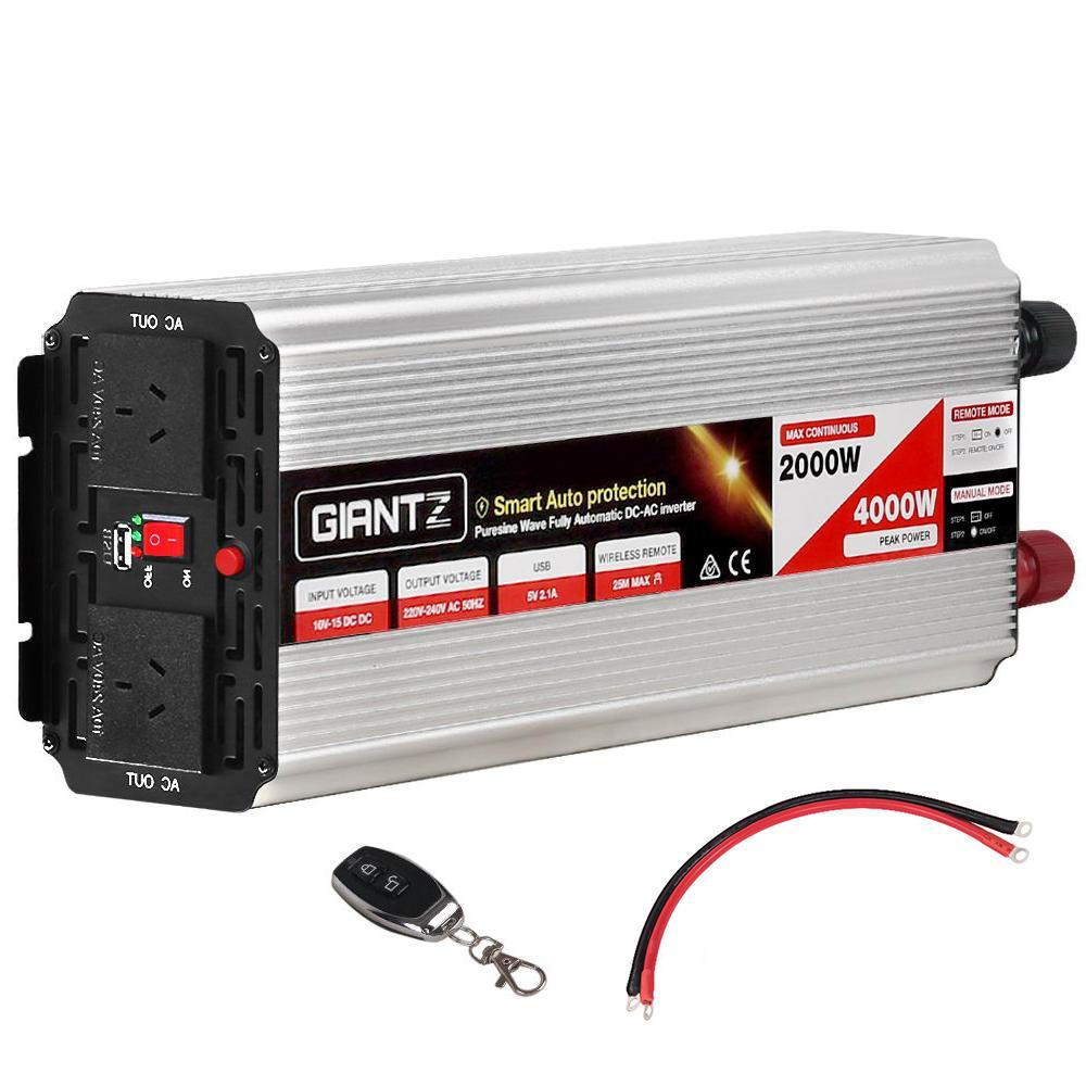 Giantz Power Inverter 2000W or 4000W Pure Sine Wave 12V-240V Camping Boat Caravan