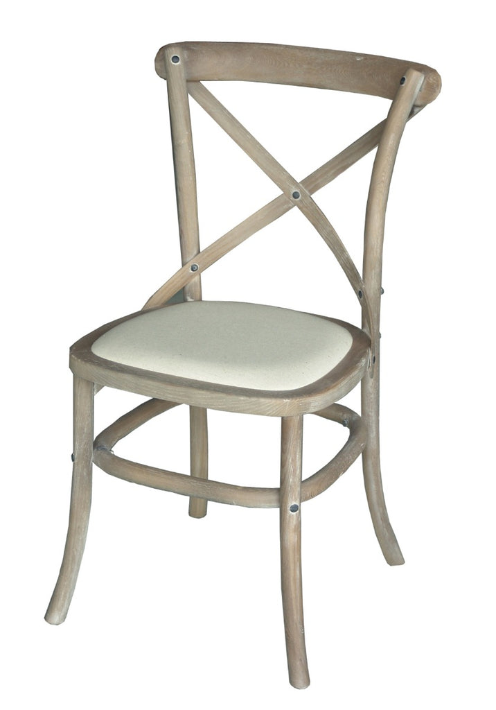 Wash White Cross Back Upholstered Seat Dinning Chair Set Of 2