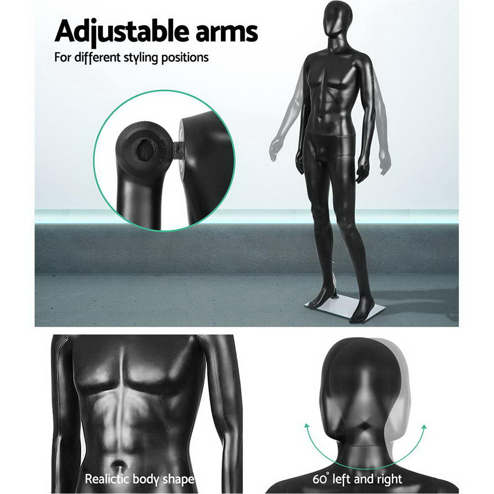 186cm Tall Full Body Male Mannequin - Black