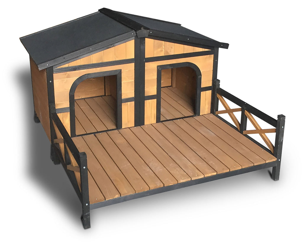 Xl Double Dog Kennel House W/Patio Wooden Timber Deck