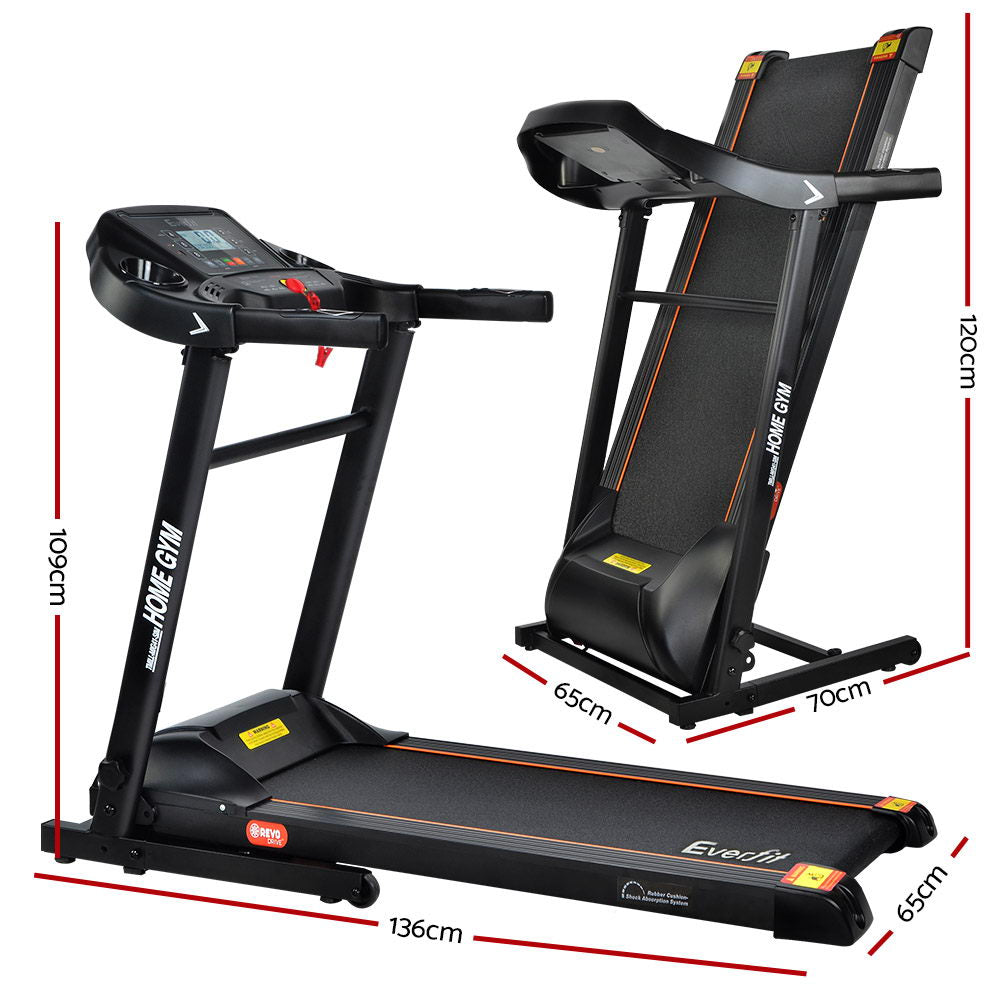 Everfit Electric Treadmill 40cm Running Home Gym Fitness Machine Black
