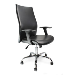 TOR • Shirt-Tail Leather Faced Executive Armchair with Chrome Base - Black