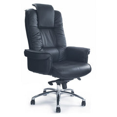 HERCULES • Luxurious Black Leather Faced Gull-Wing Executive Armchair with Chrome Base