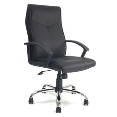 WESTON • High Back Leather Faced Executive Armchair with Chrome Base - Black