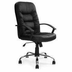 FLEET • High Back Leather Faced Executive Armchair with Chrome Base - Black