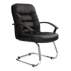 FLEET-C • Chrome Cantilever Framed Leather Faced Visitors Armchair - Black