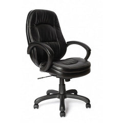 DAWSON • High Back Leather Effect Executive Armchair - Black