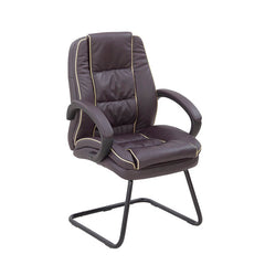 TRURO-C • Leather Faced Cantilever Framed Visitors Armchair with Contrasting Piping