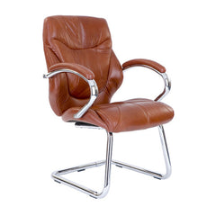 SANDOWN-C • Chrome Cantilever Framed Luxurious Leather Faced Visitors Armchair