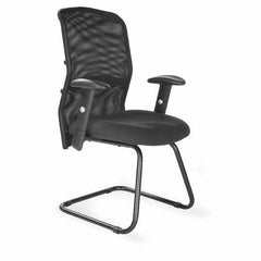 JUPITER-C • Mesh Back Cantilever Framed Visitors Armchair with Adjustable Lumbar Support - Black