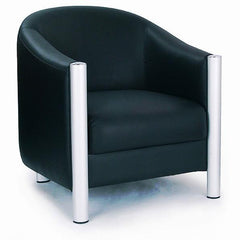 Napa - Quality Leather Faced Tub Style Chair • Black