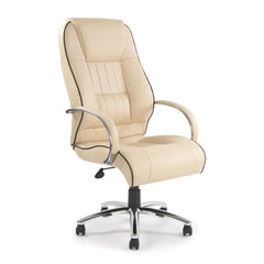 DIJON • High Back Leather Faced Executive Armchair with Contrasting Piping and Chrome Base