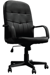 ORION • High Back Leather Faced Managers Chair - Black
