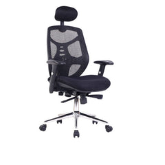 POLARIS • Mesh High Back Executive Armchair with Adjustable Headrest - Black