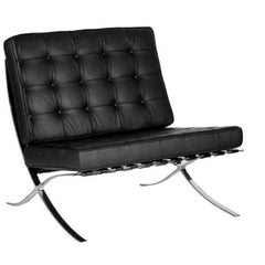 Valencia - Contemporary Oversized Leather Faced Reception Chair - Classic Button Design