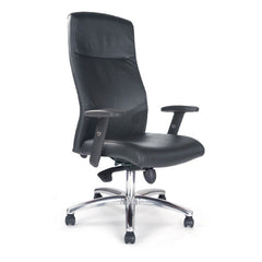 JESTER • High Back Shirt-Tail Black Leather Faced Synchro Executive Armchair With Chrome Base