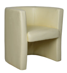 Stylish High Back Leather Faced Tub Chair